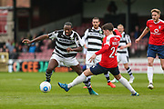 Forest Green Rovers Shamir Mullings(18) goes past York City's Sam Muggleton(24) during the Vanarama National League match between York City and Forest Green Rovers at Bootham Crescent, York, England on 29 April 2017. Photo by Shane Healey.