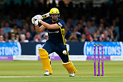 Rilee Rossouw of Hampshire goes on the attack during the Royal London 1 Day Cup Final match between Somerset County Cricket Club and Hampshire County Cricket Club at Lord's Cricket Ground, St John's Wood, United Kingdom on 25 May 2019.