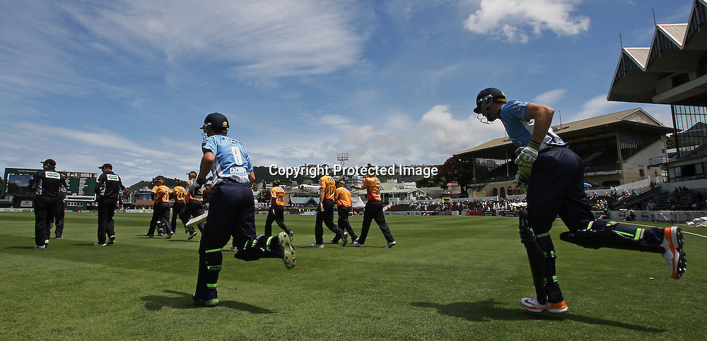 Andrew De Boorder & Martin Guptill take the field during their Twenty20 Cricket match - HRV Cup, Wellington Firebirds v Auckland Aces, 28 December 2011, Hawkins Basin Reserve, Wellington. . PHOTO: Grant Down / photosport.co.nz