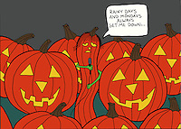 "Comic illustration of a music group made up of halloween pumpkins with a skinny one singing ""Rainy days and Mondays always get me down....."""