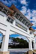 Chiang Kai-shek park on Kinmen, Republic of China ROC (Taiwan). ..Kinmen (Jinmen) formely known as Quemoy. The island lies less than 2km off the coast of China, and in 1949 was turned into a front-line of defense for Taiwan by Chiang Kai-shek and the Chinese nationalist Kuomintang (KMT) in the ongoing war with the communist PRC. The island existed under martial law until 1993. Today, Kinmen is a popular tourist destination and home to a lot of traditional Fujian-style architecture.
