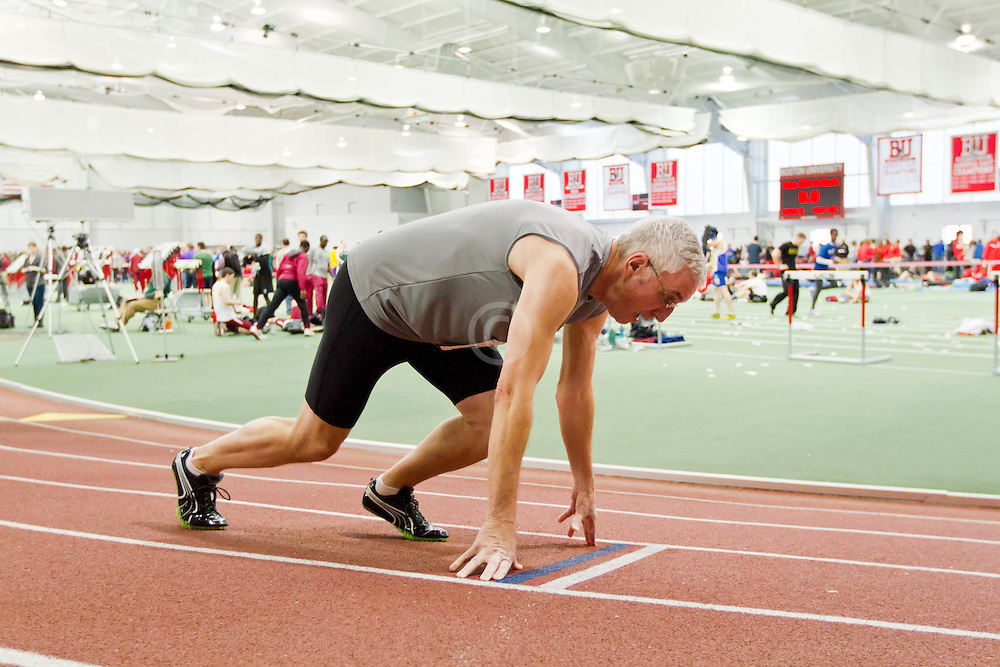 Boston University Terrier Classic Indoor Track Meet, Masters sprinter at start