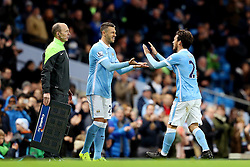 David Silva of Manchester City is replaced by Martin Demichelis after returning from injury - Mandatory byline: Matt McNulty/JMP - 01/12/2015 - Football - Etihad Stadium - Manchester, England - Manchester City v Hull City - Capital One Cup - Quarter-final