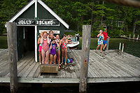 Yes, the arrival horn it loud as youngsters line up for the arrival of the MV Sophie C to Jolly Island during her afternoon cruise on Friday.  (Karen Bobotas/for the Laconia Daily Sun)