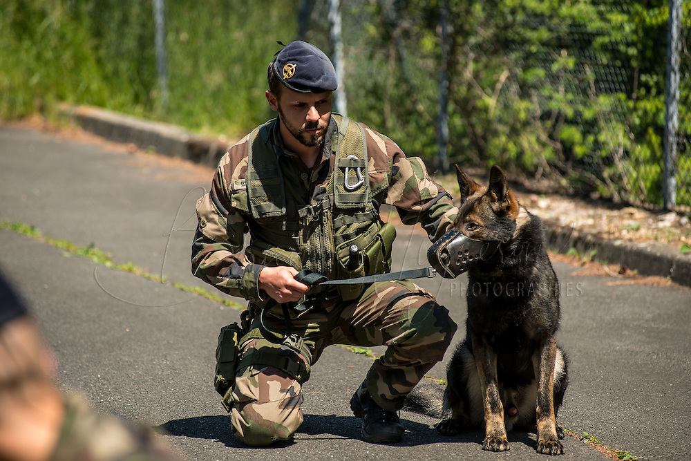 FUSCO (Air Force Fusiliers Commandos) ensure security at Lyon Mont-Verdun base accompanied by police dogs. They make daily drills to ensure the security of the most secrete base of France.Today: during the arrest of a suspect civilian caught near the base.