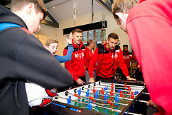 Jamie Paterson and Gary O'Neil of Bristol City play table football during Bristol City's visit to the Children's Hospice South West at Charlton Farm - Mandatory by-line: Robbie Stephenson/JMP - 21/12/2016 - FOOTBALL - Children's Hospice South West - Bristol , England - Bristol City Children's Hospice Visit
