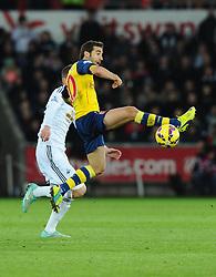 Arsenal's Mathieu Flamini battles for the ball  - Photo mandatory by-line: Joe Meredith/JMP - Mobile: 07966 386802 - 09/11/2014 - SPORT - Football - Swanswa - Liberty Stadium - Swansea City v Arsenal - Barclays Premier League