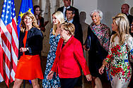 BERLIJN - Koningin Maxima neemt deel aan een paneldiscussie over de economische positie van vrouwen tijdens de Women20 Summit van de G20. Behalve Maxima praatten ook Ivanka Trump, de dochter van de Amerikaanse president, de Duitse Bondskanselier Angela Merkel en Christine Lagarde, directeur van het IMF, mee. ANP ROYAL IMAGES ROBIN UTRECHT **NETHERLANDS ONLY**<br /> Juliana Rotich, co-founder of Ushahidi open-source software - Anne Finucane, vice-president of the Bank of America - Ivanka Trump, First Daughter and Advisor to the President, Chrystia Freeland, Minister of Foreign affairs of Canada - Angela Merkel, Chancellor of Germany - Queen Maxima of The Netherlands, UN special advocate for Inclusive Finance and Development - Mona Kuppers, W20 Germany Co-Chair - Manuela Schwesig, Federal Minister of Family Affairs - Christine Lagarde, Director of the International Monetary Fund and Nicola Leibinger-Kamm&uuml;ller, chairwoman of Technology concert Trumpf<br /> <br /> <br /> 25-4-2017 BERLIJN - Queen Maxima and Ivanka Trump participate in Berlin on April 25th in the panel discussion 'Inspiring Women: Scaling Up Women's Entrepreneurship'. The panel discussion is part of the G20's Women20 Summit held in the German capital from 24 to 26 April. Germany is currently president of the G20. Queen M&aacute;xima is Special Advocate-General of the United Nations Secretary-General for Inclusive Funding for Development and Honorary President of the Global Partnership for Global Inclusion (GFI) Global Partnership for Financial Inclusion (GPFI). Juliana Rotich, co-founder of Ushahidi open-source software - Anne Finucane, vice-president of the Bank of America - Ivanka Trump, First Daughter and Advisor to the President, Chrystia Freeland, Minister of Foreign affairs of Canada - Angela Merkel, Chancellor of Germany - Queen Maxima of The Netherlands, UN special advocate for Inclusive Finance and Development - Mona Kuppers, W20 Germany Co-Chair - Manuela Schwesig, Federal Minister of Family Affairs - Christine Lagarde, Di