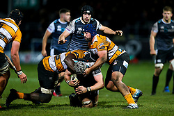 Guinness PRO14, The Gnoll, Neath, UK 30/11/2019<br /> Ospreys vs Toyota Cheetahs<br /> Dan Lydiate of Ospreys is tackled by Junior Pokomela of Toyota Cheetahs.<br /> Mandatory Credit ©JMP/Rogan Thomson