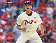 May 24, 2014; Philadelphia, PA, USA; Philadelphia Phillies relief pitcher Jonathan Papelbon (58) reacts after striking out Los Angeles Dodgers left fielder Scott Van Slyke (33) (not pictured) to end the game in the top of the ninth at Citizens Bank Park. The Phillies won 5-3. Mandatory Credit: Bill Streicher-USA TODAY Sports