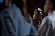 South Carolina Gamecocks forward A'ja Wilson #22 looks on before tip off against the Mississippi State Lady Bulldogs during the NCAA Women's Championship game at the American Airlines Center in Dallas, Texas on April 2, 2017.  (Cooper Neill for The Players Tribune)