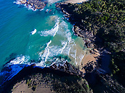 Aerial photograph looking straight down on North Smokey Beach, Arakoon National Park, New South Wales, Australia