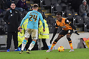 Hull City midfielder Moses Odubajo  during the Sky Bet Championship match between Hull City and Derby County at the KC Stadium, Kingston upon Hull, England on 27 November 2015. Photo by Ian Lyall.