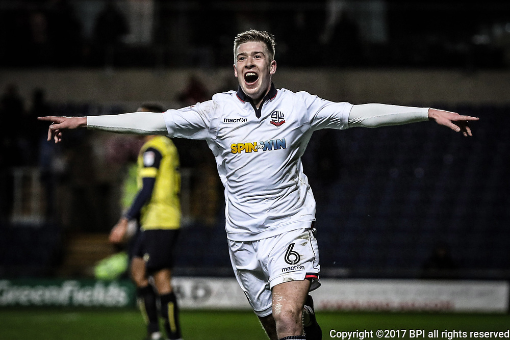 Josh Vela of Bolton Wanderers celebrates scoring the 4th goal during the Sky Bet League One match between Oxford United and Bolton Wanderers played at the Kassam Stadium, Bolton on 21st March 2017