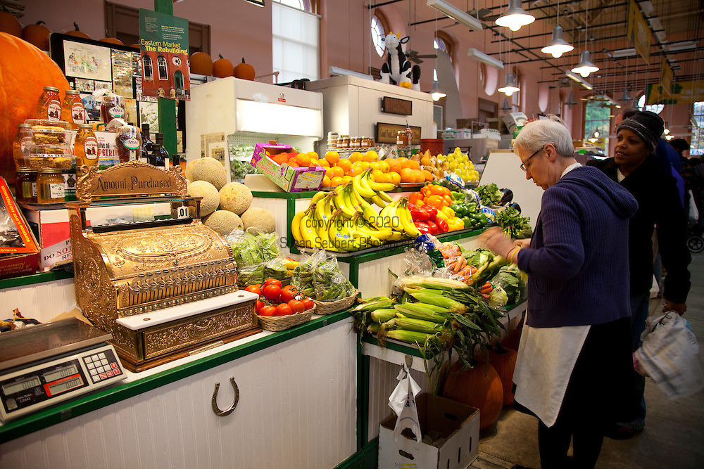 The Eastern Market in Washington D.C.'s Capitol Hill neighborhood has been in continuous operation since 1873 and is the only market retaining its original public market function.  The market offers a large variety of fresh local fruits and vegetables, flowers, meat, and other products.