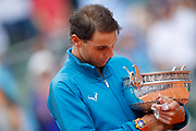 Rafael NADAL (ESP) and the trophy, celebration during the Roland Garros French Tennis Open 2018, single Final Men, on June 10, 2018, at the Roland Garros Stadium in Paris, France - Photo Stephane Allaman / ProSportsImages / DPPI