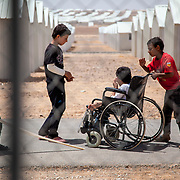 Azraq camp for Syrian refugees, Jordan, May 2014.<br /> .
