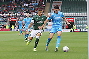 Antoni Sarcevic and Jacob Greaves   during the EFL Sky Bet League 2 match between Plymouth Argyle and Cheltenham Town at Home Park, Plymouth, England on 21 September 2019.
