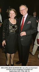 MR & MRS JOHN GUMMER MP., he is the environment minister, at an exhibition in London on September 24th 1996.LSG 18