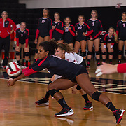 27 August 2016: The San Diego State Aztecs took on the Michigan State Spartans in game two of the Aztec Invitational at Peterson Gym on the campus of SDSU. DS Dani Bolden digs a shot in the third set against the Spartans. The Aztecs lost 3-1 to the Spartans. www.sdsuaztecphotos.com