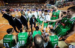 Aleksandar Saso Nikitovic, coach of Petrol Olimpija with players during basketball match between KK Sixt Primorska and KK Petrol Olimpija in semifinal of Spar Cup 2018/19, on February 16, 2019 in Arena Bonifika, Koper / Capodistria, Slovenia. Photo by Vid Ponikvar / Sportida