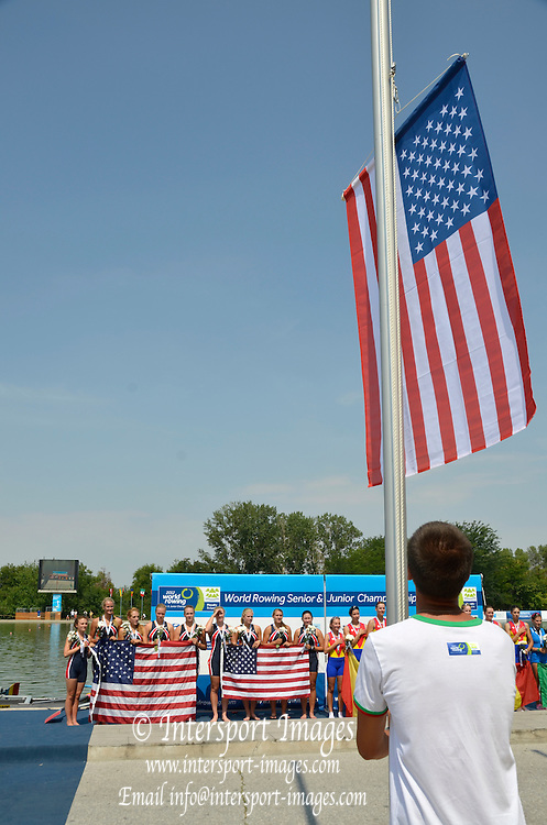 Plovdiv BULGARIA. USA JW8+.  Bow Joanna MULVEY, Carolina RATCLIFF, Mackenzie BARTZ, Claire COLLINS, Sylvie SALLQUIST, Caroline HART, Eliza SPILLSBURY and Cox Amanda RUTHERFORD, 2012 FISA Junior and Non Olympic . Rowing Championships, Plovdiv Rowing Course.     12:14:29  Sunday  19/08/2012 [Mandatory Credit Peter Spurrier: Intersport Images]...