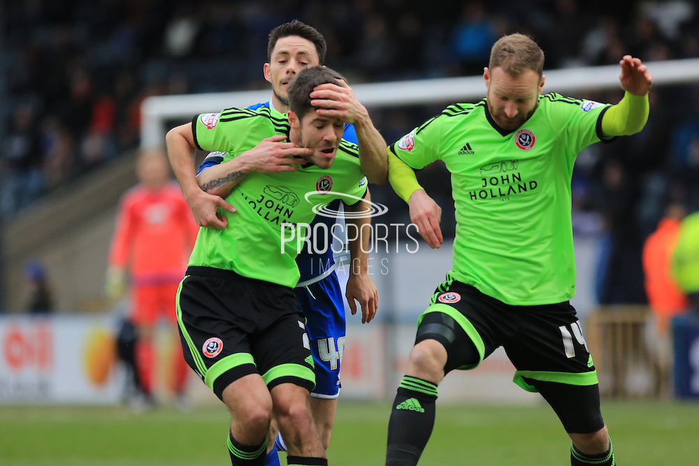 Ian Henderson, David Edgar, Matty Done during the Sky Bet League 1 match between Rochdale and Sheffield Utd at Spotland, Rochdale, England on 27 February 2016. Photo by Daniel Youngs.