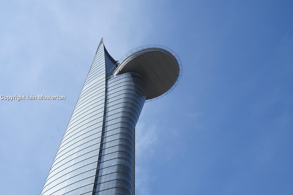 View of modern Bitexco Financial Tower skyscraper in central Saigon or Ho Chi Min City in Vietnam