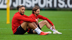 CARDIFF, WALES - Monday, October 8, 2018: Wales' captain Ashley Williams (L) and Joe Allen during a training session at the Vale Resort ahead of the International Friendly match between Wales and Spain. (Pic by David Rawcliffe/Propaganda)