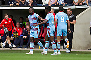 4th August 2018, Simple Digital Arena, Paisley, Scotland; Ladbrokes Premiership football, St Mirren versus Dundee; Dundee's Elton Ngwatala is congratulated after scoring for 1-1-by Jean Alassane Mendy