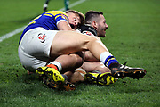 Hull FC outside back Jake Connor (14) scores a try 14-0 during the Betfred Super League match between Hull FC and Leeds Rhinos at Kingston Communications Stadium, Hull, United Kingdom on 19 April 2018. Picture by Mick Atkins.