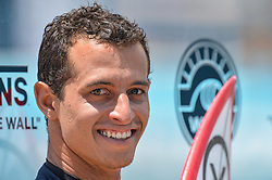 August 1, 2018 - Huntington Beach, California, U.S - MAXIME HUSCENOT, from France, waits to be interviewed after winning his second round heat of the Vans US Open held at Huntington Beach, California. (Credit Image: © Amy Sanderson via ZUMA Wire)