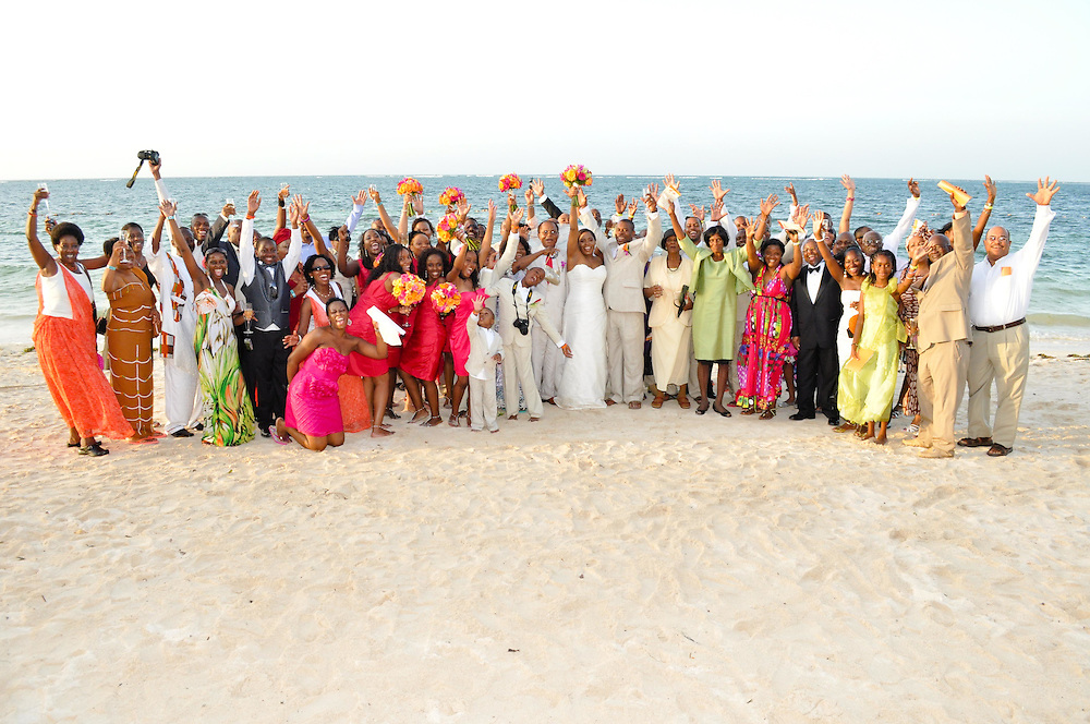 Lulu & Kirkton's guests travelled from all over the world to join them for their wedding on the beach at Iberostar Rose Hall, Montego Bay, Jamaica