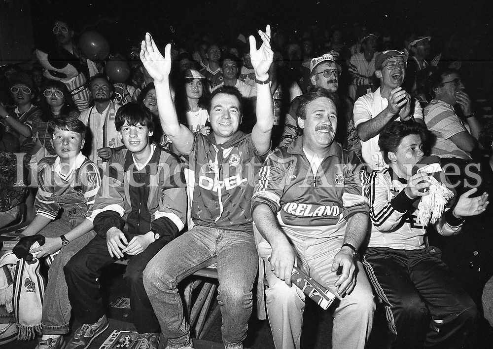 Fans of the Republic of Ireland football team at the Xtra Vision World Cup Show in the RDS. 17/6/90 PIC DARA MAC DONAILL  STAFF  (Part of the Independent Newspapers Ireland/NLI Collection) <br /> Soccer