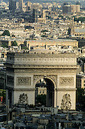 France. Paris. elevated view.  arc de triomphe view from The hotel Concorde Lafayette. Porte Maillot.