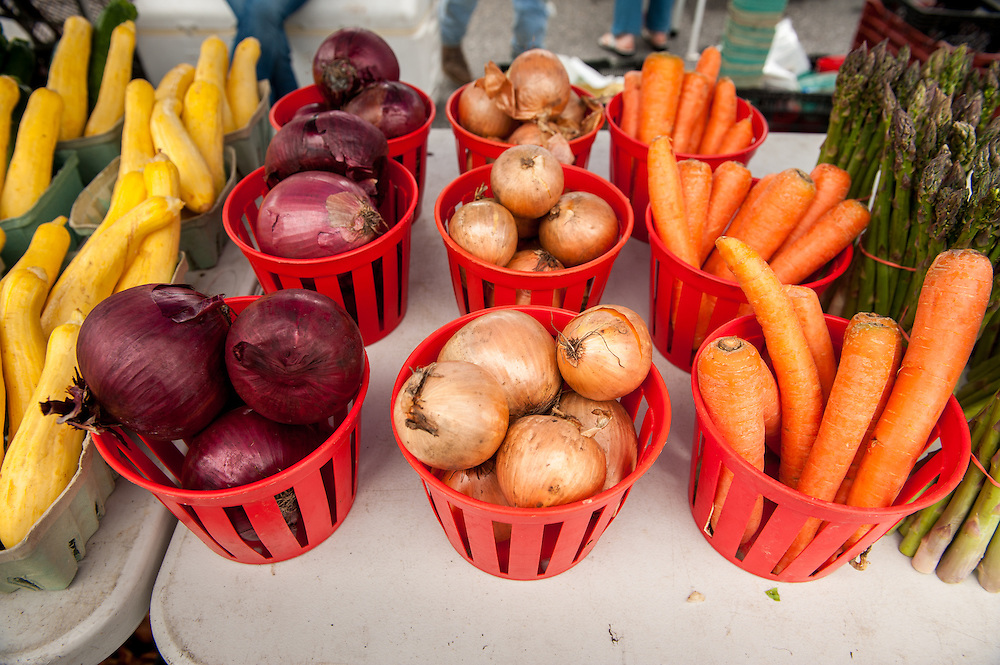 Fresh produce for sale at a farmers market