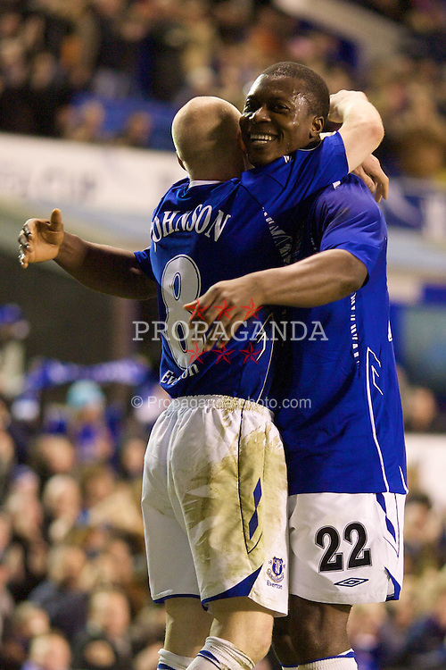 LIVERPOOL, ENGLAND - Thursday, February 21, 2008: Everton's Andrew Johnson celebrates scoring the second goal with Yakubu Ayegbeni against SK Brann Bergen during the UEFA Cup Round of 32 2nd Leg match at Goodison Park. (Photo by David Rawcliffe/Propaganda)