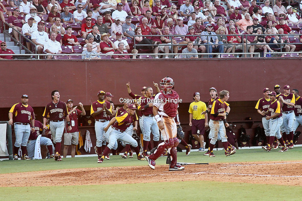 June 03, 2011; Tallahassee, FL, USA; Florida State Seminoles catcher Rafael Lopez (29) looks on as the Bethune-Cookman Wildcats bench erupts following a home run by Ryan Durrence (not pictured) to tie the game during the sixth inning of the Tallahassee regional of the 2011 NCAA baseball tournament at Dick Howser Stadium. Mandatory Credit: Derick E. Hingle