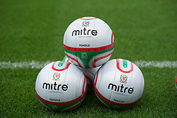 LLANELLI, WALES - Tuesday, August 14, 2012: Mitre footballs before a Wales training session at Parc y Scarlets ahead of the international friendly match against Bosnia-Herzegovina. (Pic by David Rawcliffe/Propaganda)