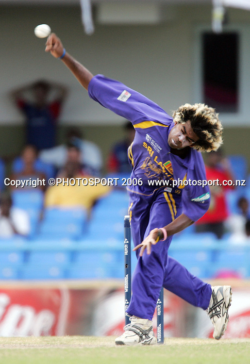 Lasith Malinga in action during the Super 8 Cricket World Cup match, England v Sri Lanka at the Sir Vivian Richards Cricket Ground in Antigua, West Indies on Wednesday 4 April 2007. Sri Lanka batted first, scored 235 and won by 2 runs. Photo: Andrew Cornaga/PHOTOSPORT **NO AGENTS**<br />