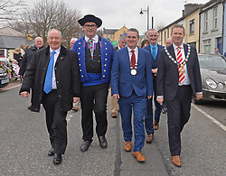 Pictured at the Westport 250 parade on sunday Minister of State for Rural Affairs Michael Ring TD, Dominique Cap Mayor Of Plougastel Daoulas, Cllr Brendan Mulroy Cathoairleach West Mayo Municipal Authority and Cllr James McCorkell Deputy Mayor Causeway Coast and Glens Borough Council.<br />Pic Conor McKeown