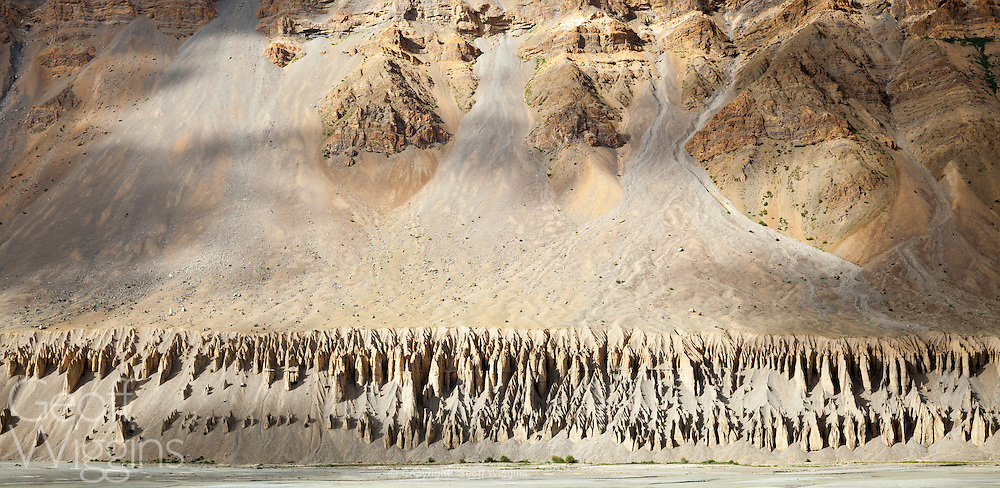 Weather eroded rock formations on the ecologically endangered Spiti Valley region of Himachal Pradesh, Northern India