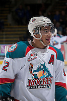 KELOWNA, CANADA -FEBRUARY 25: Tyrell Goulbourne #12 of the Kelowna Rockets is all smiles after scoring a hat trick against the Prince George Cougars on February 25, 2014 at Prospera Place in Kelowna, British Columbia, Canada.   (Photo by Marissa Baecker/Getty Images)  *** Local Caption *** Tyrell Goulbourne;