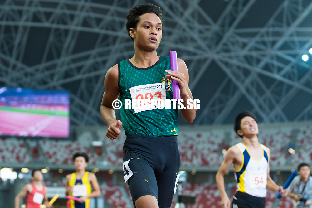 Singapore Sports School won gold in 43.04 seconds. Raffles Institution were second in 44.19s while Catholic High School finished third in 44.62s.