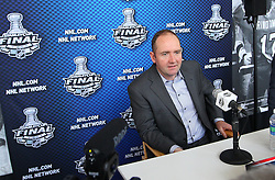 May 29; Newark, NJ, USA; New Jersey Devils head coach Peter DeBoer during Stanley Cup Finals media practice day at the Prudential Center.