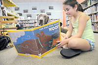 Dogs at Norristown Library,  kids reading to dogs, roll over and read  Fergus & cruiser