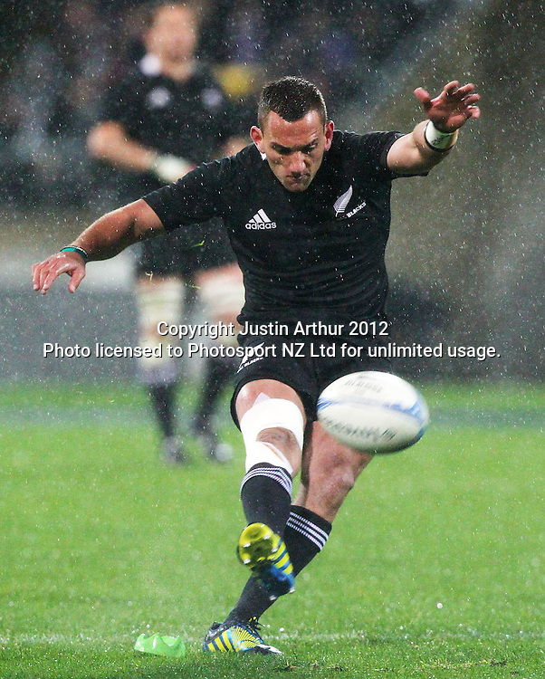 All Blacks' Aaron Cruden during the Rugby Championship Union test match. All Blacks v Argentina at Westpac Stadium, Wellington, New Zealand on Saturday 8 September 2012. Photo: Justin Arthur / photosport.co.nz