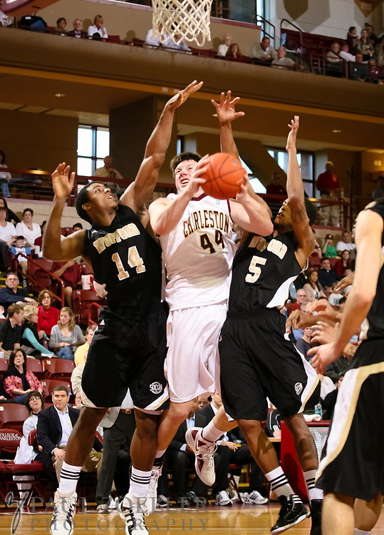 *** College of Charleston's Trent Wiedeman goes for the basket while guarded by Wofford's Aerris Smith(14) and Jarell Byrd(5) Saturday, Jan. 28, 2012 at College of Charleston's TD Arena in Charleston. Paul Zoeller/Special to the Post and Courier