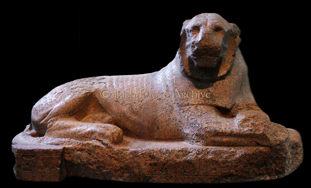 Red granite lion of Amenhophis III From Gebel Barkal, Sudan, 18th Dynasty, around 1400 BC. This lion is one of a pair collected from the Meroitic site of Gebel Barkal by Lord Prudhoe, which is why they are sometimes called 'Prudhoe lions'. Originally from the Temple of Soleb in Nubia, the lions acted as guardian figures before a temple built by Amenhotep III (1390-1352 BC), an elaborate monument to the cult of the king as a deified 'lord of Nubia', embodied by the lion.