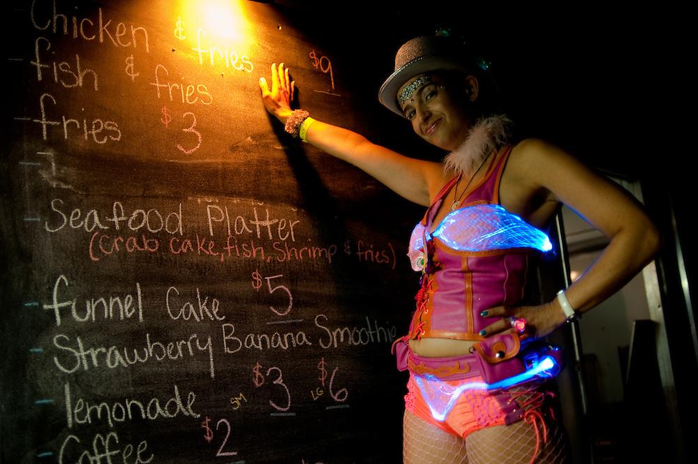 light up fishnet bikini, by britelite.